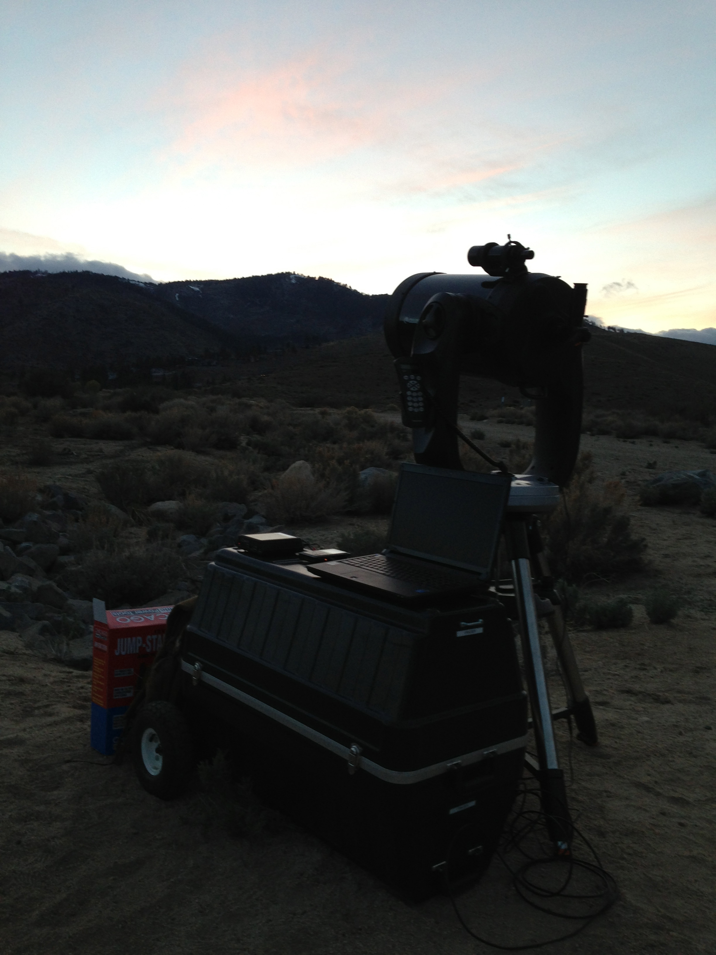 The Reno Recon telescope set up and ready to go as soon as it gets dark.