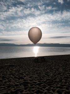 The High Hopes Balloon patiently waiting on the beach at Lake Tahoe to be launched spring 2015